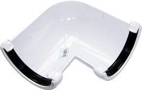White Roundstyle Gutter 112mm Half Round 90* Angle