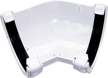 White Roundstyle Gutter 112mm Half Round 135* Angle