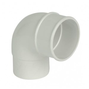 White Roundstyle Gutter 68mm Downpipe 90* Bend