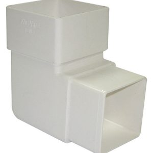 White Squarestyle 65mm Gutter Downpipe 92* Bend