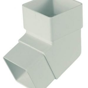 White Squarestyle 65mm Gutter Downpipe 112* Bend