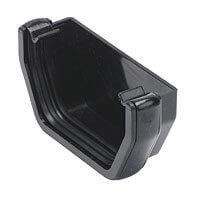 Black Squarestyle 114mm Gutter External Stop End
