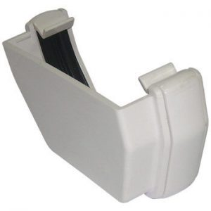 White Squarestyle 114mm Gutter External Stop End