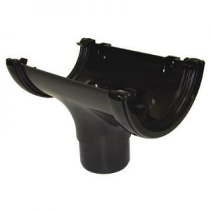 Black Roundstyle Gutter 112mm Running Outlet