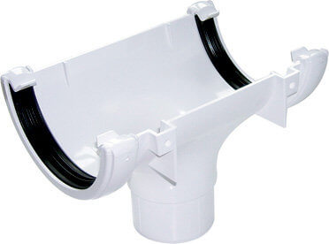 White Roundstyle Gutter 112mm Running Outlet