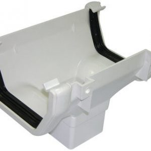 White Squarestyle 114mm Gutter Running Outlet