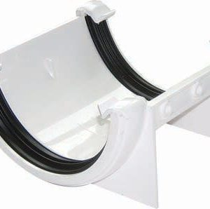 White Roundstyle Guttering 112mm Joiner Bracket