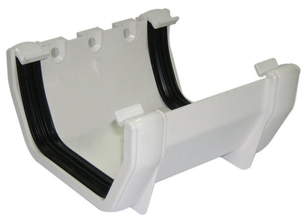 White Squarestyle 114mm Gutter Joint Bracket Olympus