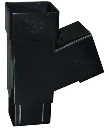 Black Squarestyle 65mm Gutter Downpipe 112* Branch