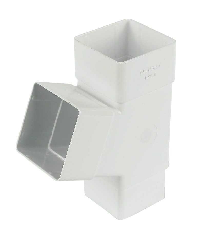 White Squarestyle 65mm Gutter Downpipe 112* Branch
